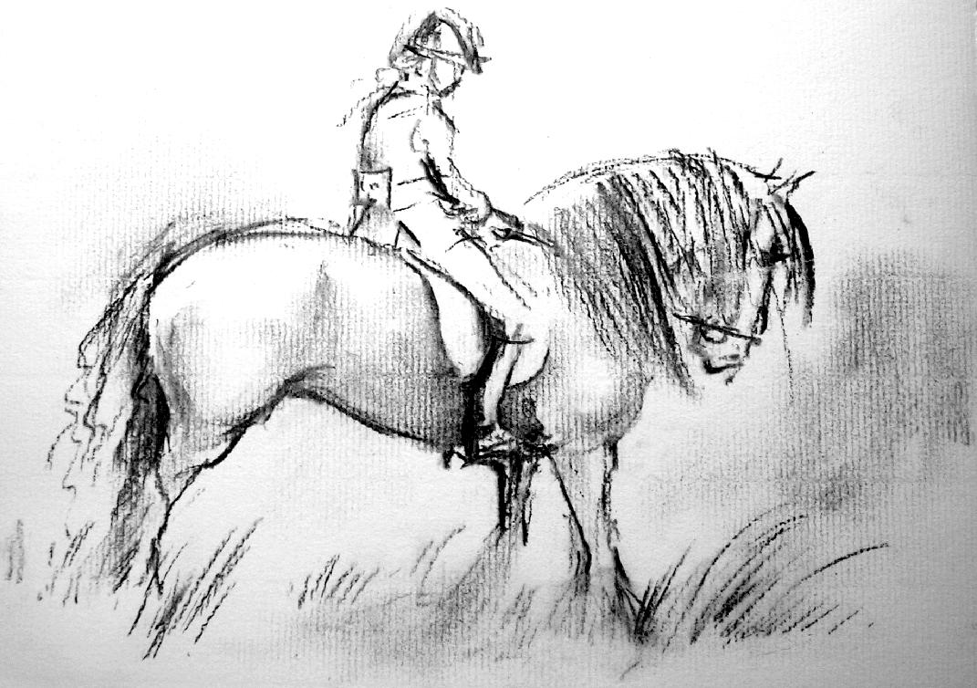 Charcoal pony + rider